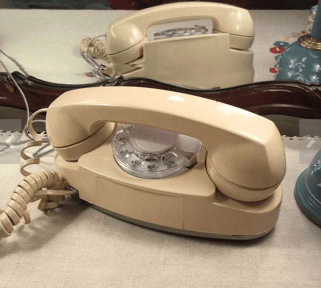 beige Princess rotary phone