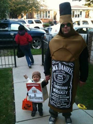 Fail Toddler in Marlboro cigarette costume with Father in Jack Daniels bottle costume