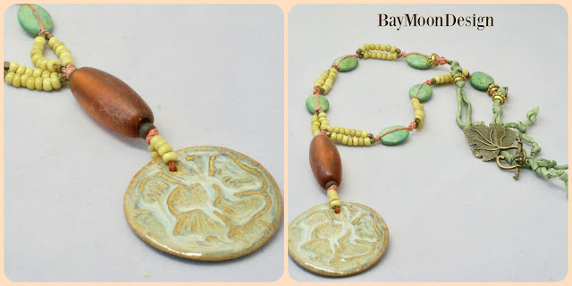 green floral necklace by BayMoonDesign
