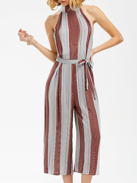 Stripe Backless Wide Leg Jumpsuit
