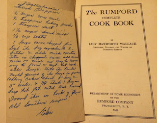 Recipe on postcard is shown inside a cookbook
