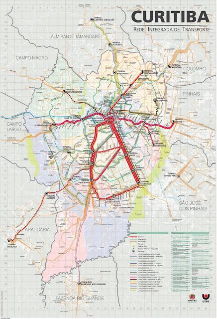 Mapa da rede de transportes de Curitiba