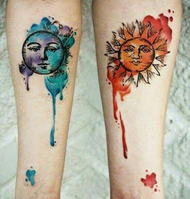 Tatuaje para parejas de sol y luna