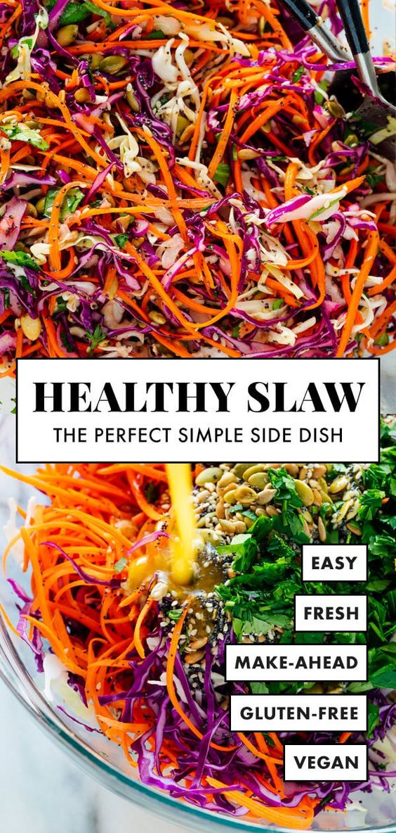 This healthy slaw recipe tastes amazing! It's made with a fresh and simple lemon dressing (no mayo or vinegar) and features toasted sunflower and pumpkin seeds. Gluten free and vegan. #coleslaw #healthycoleslaw #sidedish #vegan #cookieandkate