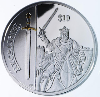 Virgin Islands 10 Dollars Silver Coin 2013 Excalibur - Legendary Weapons