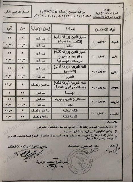 الان جدول إمتحانات الصف الاول الاعدادى الازهرى 2018 أخر العام