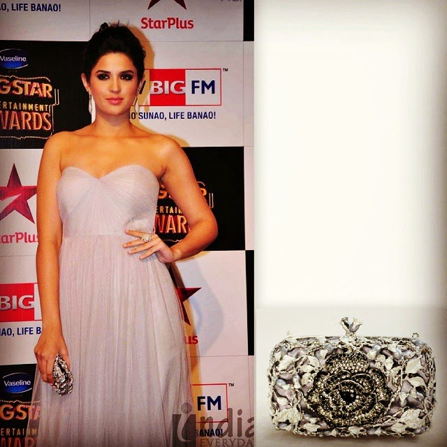 spotted in mumbai ,! the lovely deeksha seth , looking classy & fab in a simple strapless gown accessorised with a dramatic annika rucci , flores' crystallized ornamental clutch. beautifully styled by @sanjanabatra.