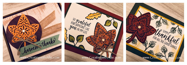 Check out the video tutorial showing you how to make Three cards featuring the Falling for Leaves stamp set!  You'll love how quick and easy these are to make!  www.creatingwithallie.com #stampinup #alejandragomez #creatingwithallie #videotutorial #cardmaking #papercrafts #handmadegreetingcards #fun #creativity #makeacard #sendacard #stampingisfun #sharewhatyoulove #handmadecards #friendshipcards