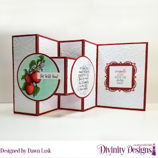 Divinity Designs Stamp Set: Apple Branch, Embossing Folder:  Flourishes,Custom Dies: Half Shutter Card with Layers, Lacey Layered Squares, Circles, Pierced Circles, Pierced Squares, Pierced Rectangles