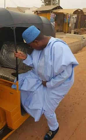 Governor Bindow Jibrilla Inside A Keke (Photos)