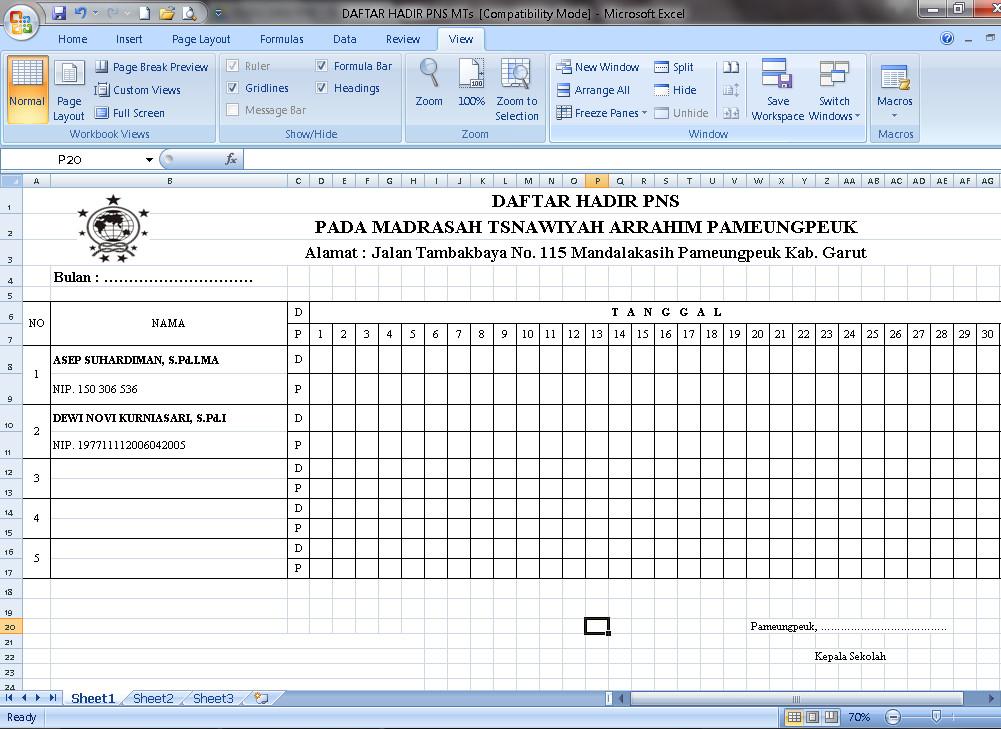 Download File Download Contoh Daftar Hadir Pns Pada Mts Terbaru Tahun Ajaran 2016 2017 Fprmat