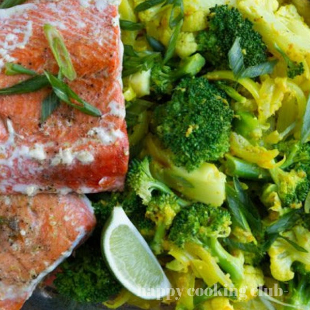 Keto Salmon and Creamy Turmeric Veggies