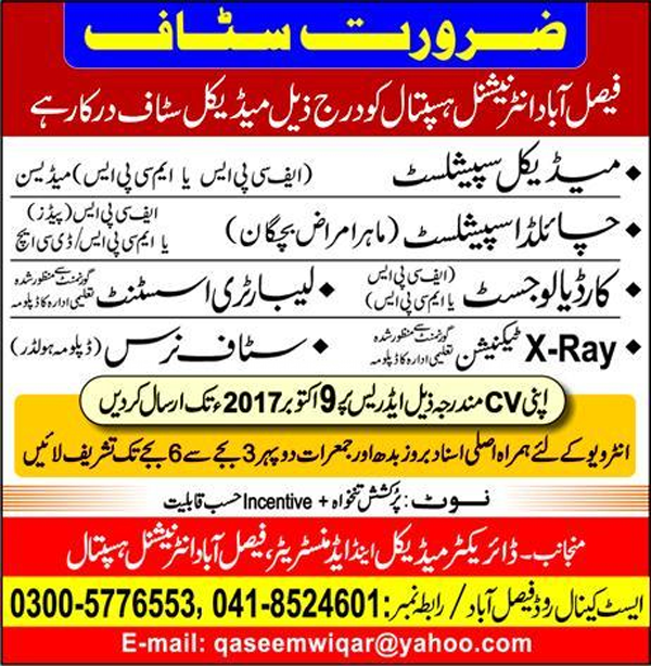 Medical Staff Needs in Faisalabad International Hospital Oct 2017