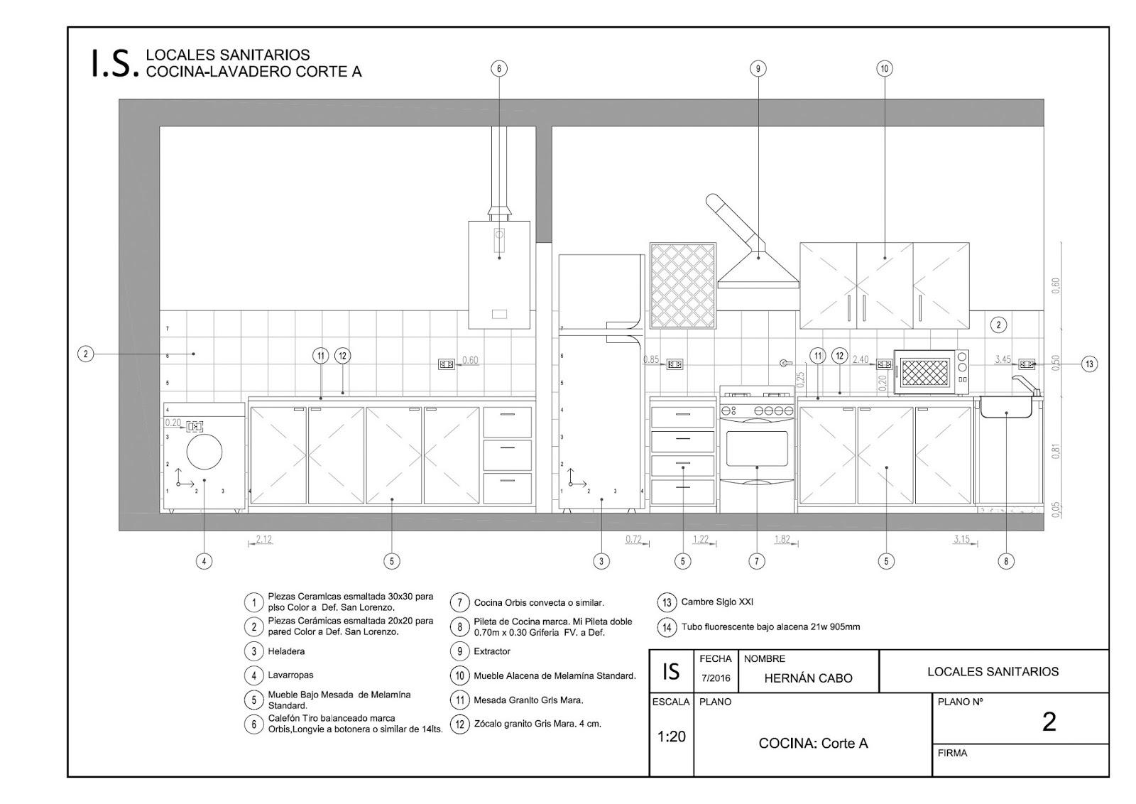Detalles constructivos cad locales sanitarios cocina for Cocina plano arquitectonico