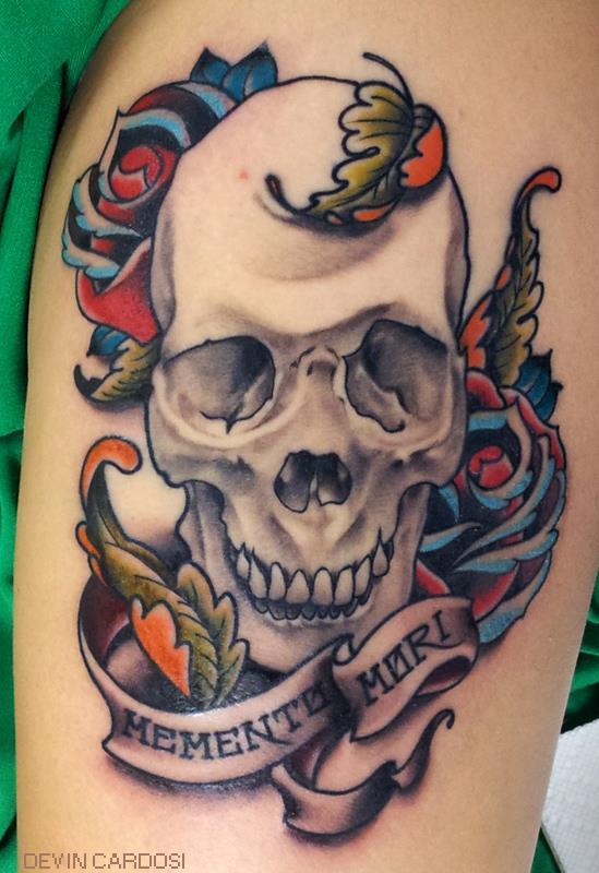 Memento Mori tattoo   skull tattoo   tattoo on the armMemento Mori Skull Tattoo