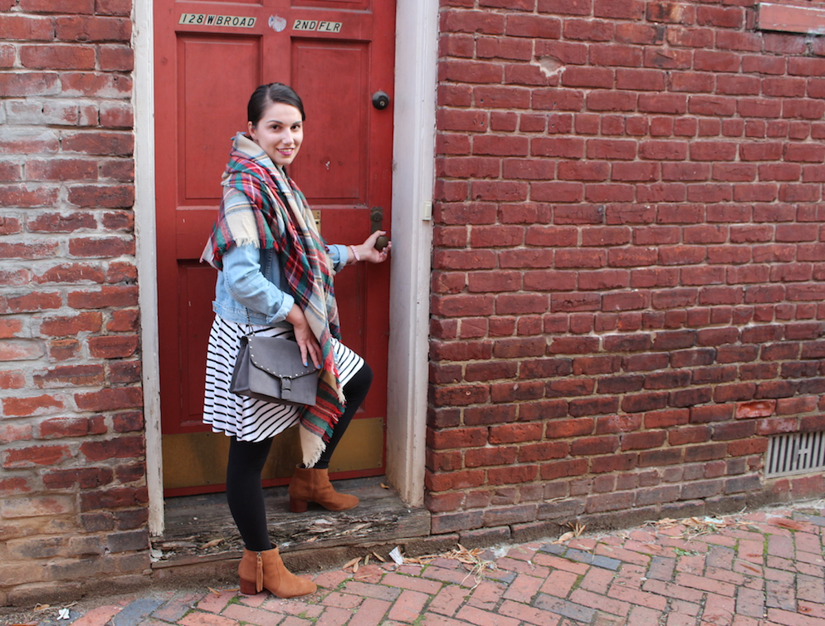 This is a close up shot of me in Richmond Virginia in front of a red door.