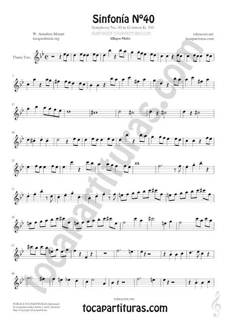 Partitura de Flauta Travesera o Traversa de Sinfonía Nº40 de Mozart Sheet Music for Flute Music Scores