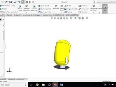 operacion extrusion y barrido para las extremidades del minion en solidworks
