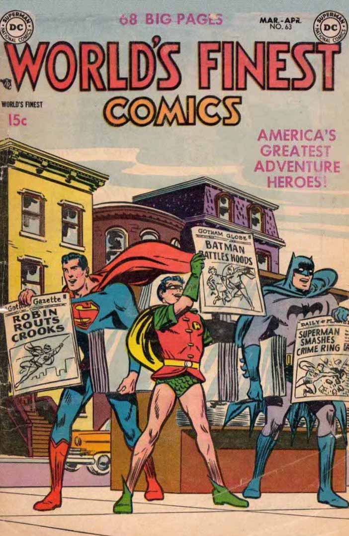 Superman, Robin, and Batman hawking newspapers on a city street, each holding up a front page touting the heroic exploits of one of the others