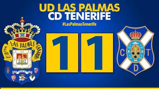 Marcador final UD Las Palmas 1-1 CD Tenerife