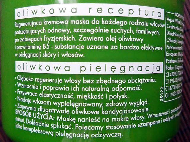 Ziaja - Naturalna, oliwkowa maska regenerująca do włosów, etykieta