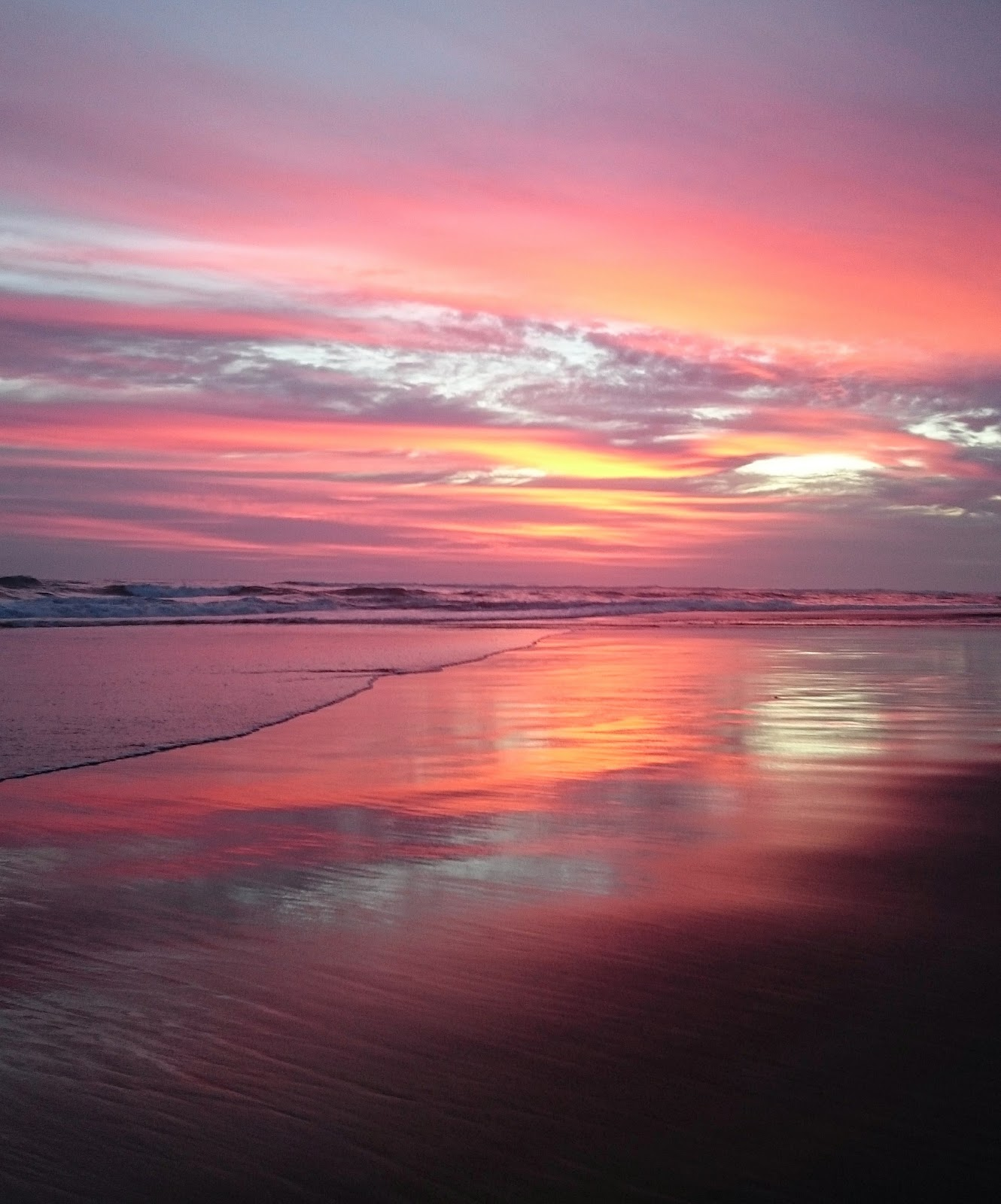 Most beautiful pink sunset in Canggu, Bali, Indonesia