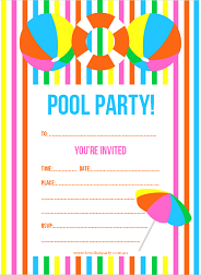 bright summer pool party invitation with stripes, beach ball, umbrella and life preserver