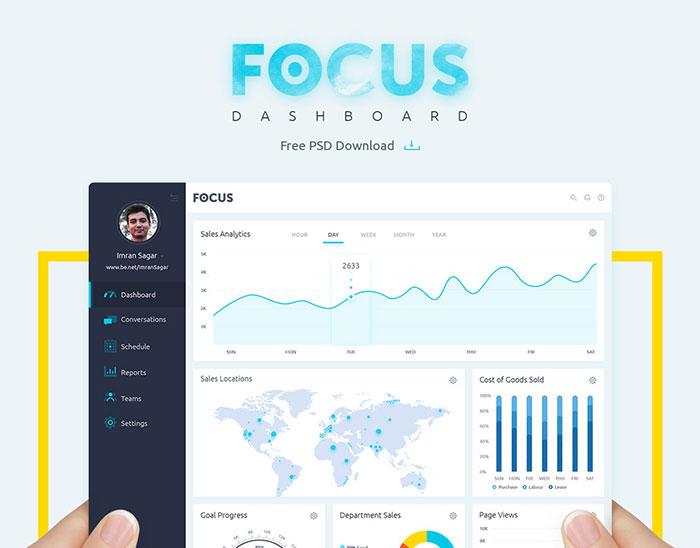 Focus Dashboard Free PSD