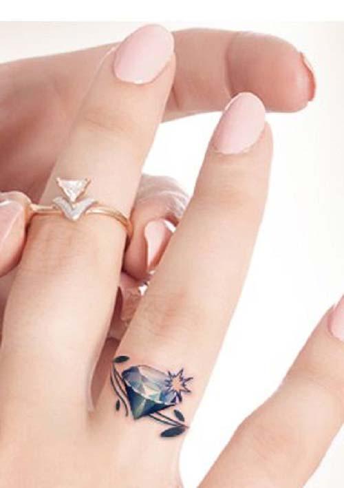 elmas dövmeleri parmak realistic finger diamond tattoos