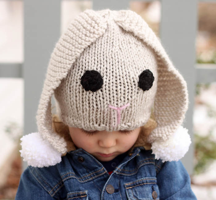 Baby Bunny Hat Knitting Pattern : Bunny Baby Hat Free Knitting Pattern - Gina Michele