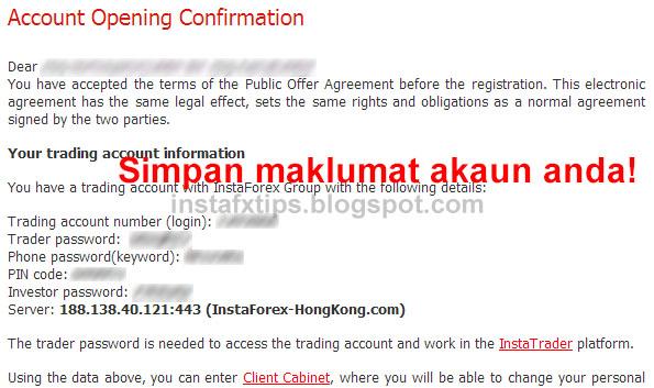 cara buka akaun instaforex malaysia confirmation form