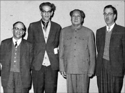 「CCP Chairman Mao Zedong with Israel Epstein (first left), Soviet spies Anna Louise Strong (third left), Frank Coe (second right), and Solomon Adler (first right). New Deal economists Coe and Adler defected to Maoist China rather than face prosecution in the United States.」の画像検索結果