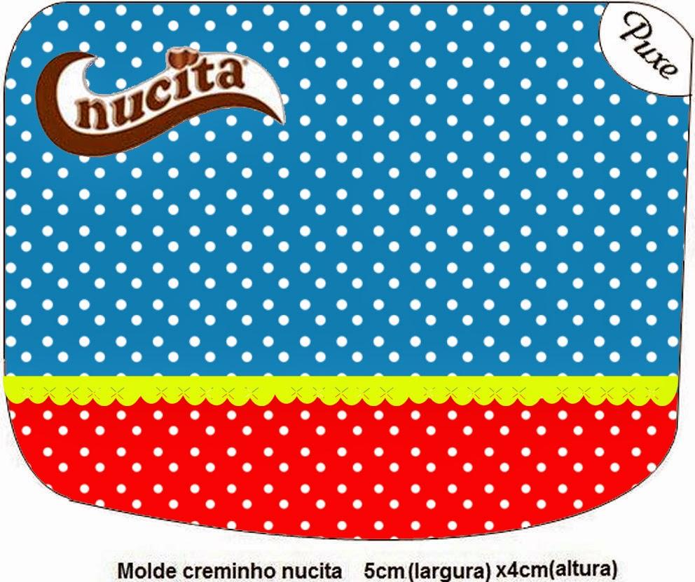 Etiqueta Nucita de Rojo, Amarillo y Azul para imprimir gratis.