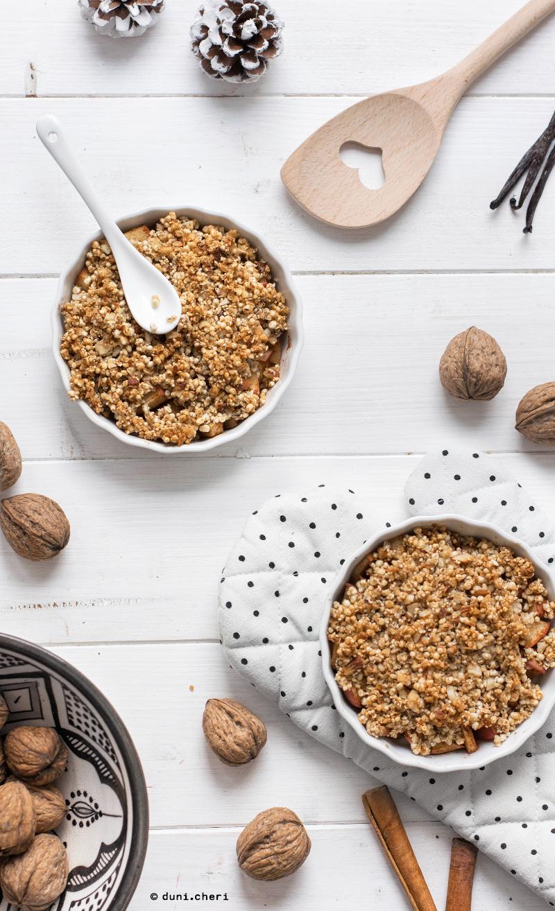 Apfel Crumble Kokosöl Quinoa Vegan gesund Rezept