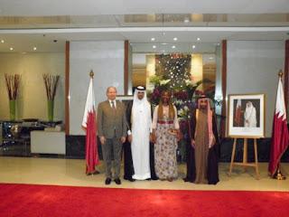 SEM Faisal Abdullah Al-Henzab, un ministre du Qatar, Madeleine et Pierre Scherb