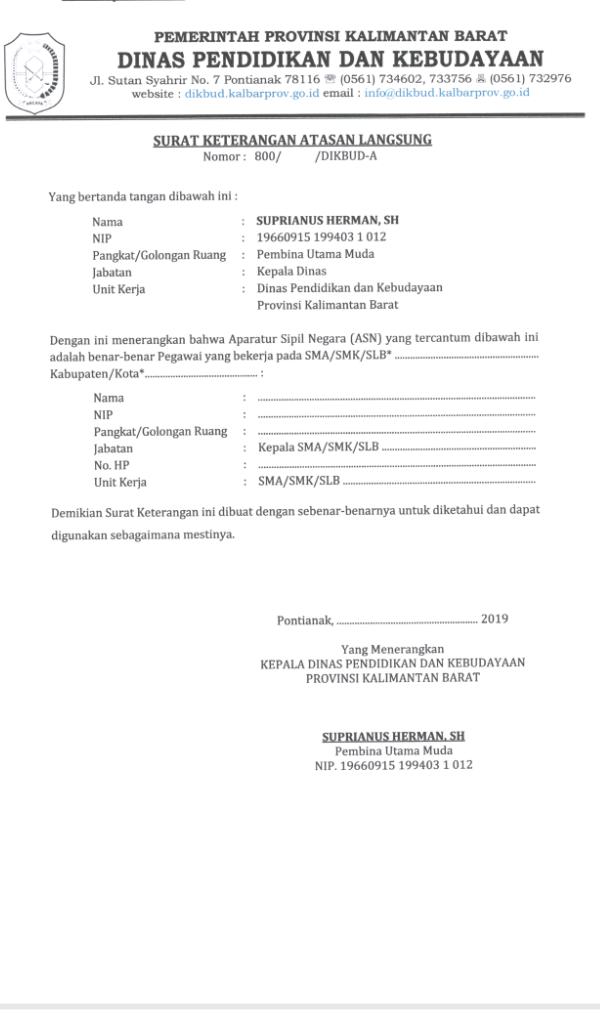 contoh surat keterangan atasan langsung   Contoh Surat
