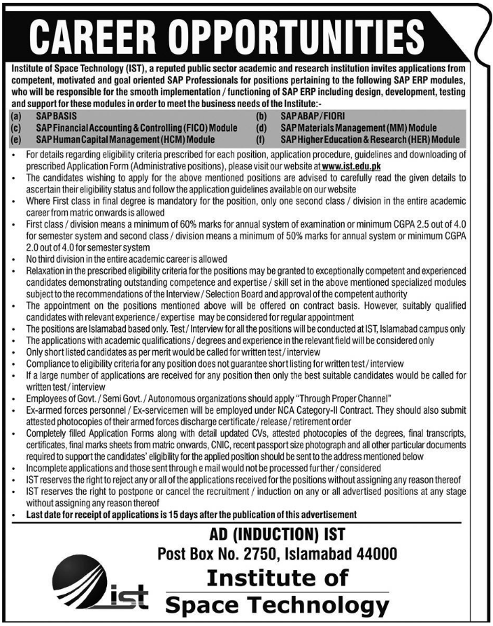 Advertisement for Institute of Space Technology Jobs
