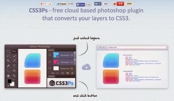 Jika Anda menggunakan CSS3 dalam desain Anda, Anda akan menyukai extension berbasis cloud ini. Ini memungkinkan Anda mengkonversi lapisan Anda ke aktual kode CSS3 langsung dari Photoshop. Yang harus Anda lakukan adalah memilih lapisan (s) dan klik tombol untuk mengubah mereka . Ini sangat mudah digunakan.