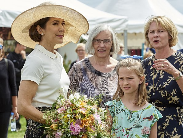 Crown Princess Mary wore Andiata flower print maxi skirt and LK Bennett wedge, shoes, Maria Dulong diamond earrings