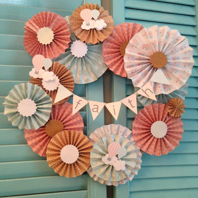 hot air balloon, baby shower theme, paper wreath, up up and away theme, diy baby shower decor, silhouette cameo, paper crafts, diy paper wreath