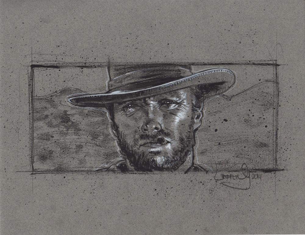 Clint Eastwood, Artwork is Copyright © 2014 Jeff Lafferty