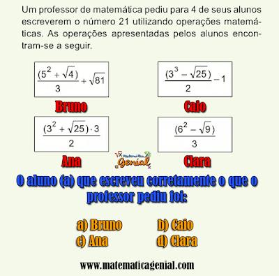 Questão Vunesp -  Um professor de matemática pediu para 4 de seus alunos...