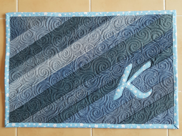 Personalized recycled denim placemats | DevotedQuilter.blogspot.com