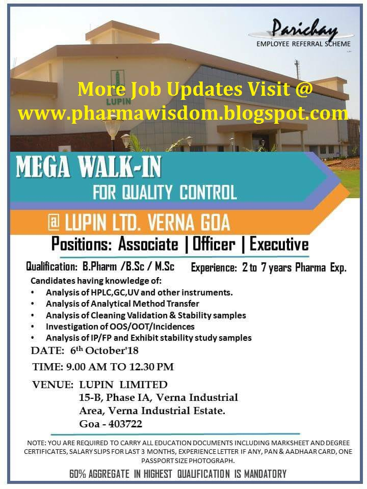 LUPIN LTD - Mega Walk-In for Quality Control on 6th October