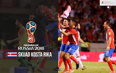 Skuad Susunan Pemain Kosta Rika di Piala Dunia 2018
