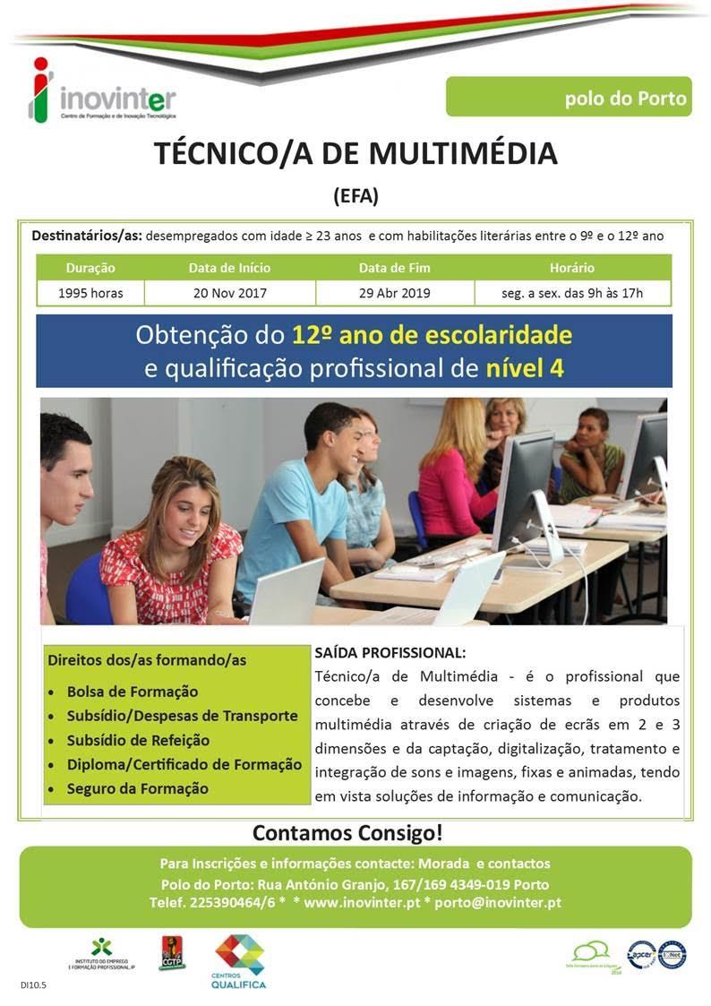 Curso efa para desempregados/as (Técnico/a de Multimédia) – Porto