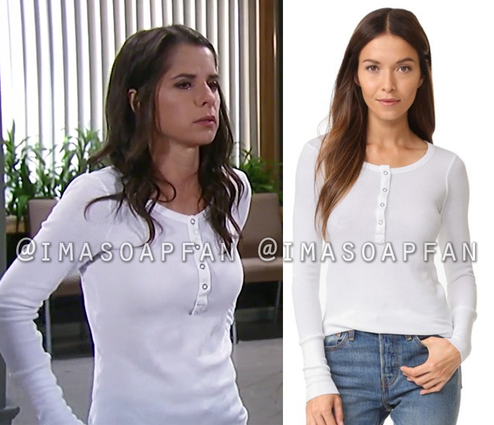 Sam Morgan, Kelly Monaco, White Thermal Henley, General Hospital, GH
