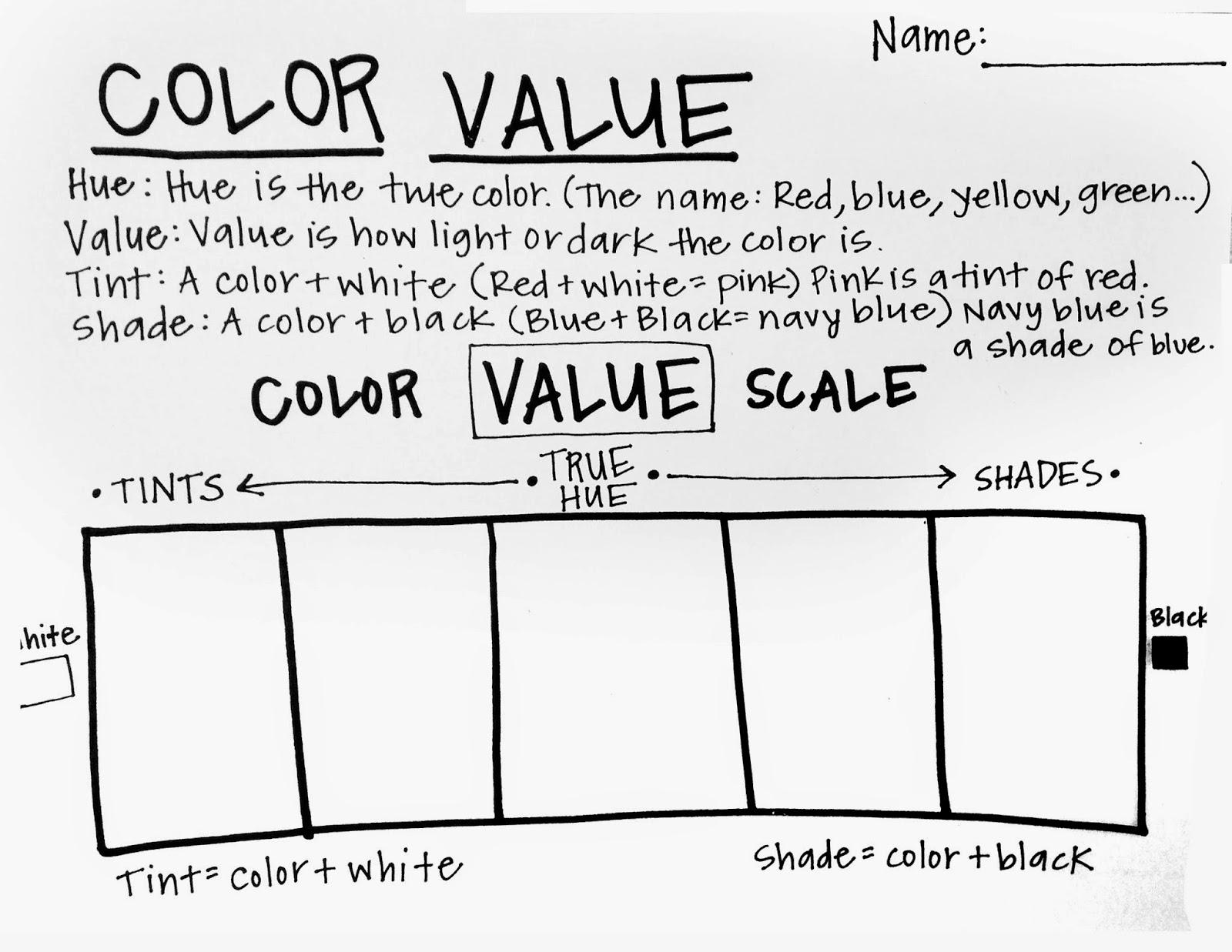 Value scale and sphere worksheet; blending value