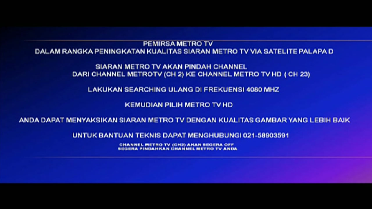 Metro TV Ditutup dari SD Pindah Ke HD Siaran di Palapa D