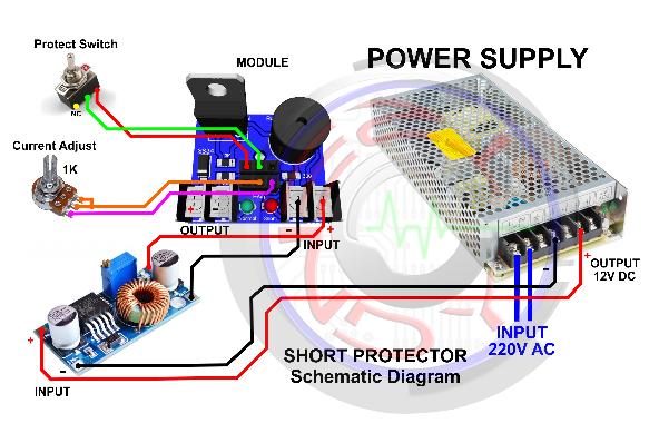 Skema Rangkaian untuk memasang Short Protector Pada Mbr Rakitan 12 Ampere